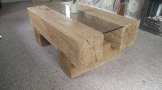 Oak coffee table / European oak beam coffee table by Bertswood