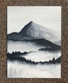 Items similar to Hand Painted Foggy Black and White Mountain and Forest Scene - Canvas Panel on Etsy - Aquarell - Watercolor Landscape, Landscape Paintings, Watercolor Paintings, Abstract Landscape, Acrylic Paintings, Painting On Black Canvas, Watercolors, Watercolor Pencil Art, Pastel Landscape