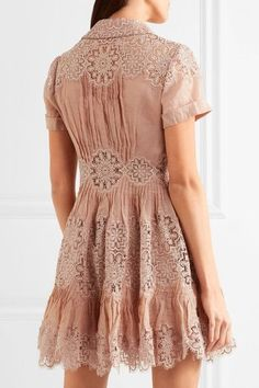 Zimmermann - Winsome Cotton-gauze And Lace Mini Dress - Antique rose - 0