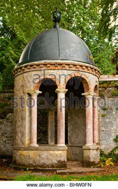 Rotunda in garden at Torosay Castle near Craignure on the Isle of Mull in the Inner Hebrides western Scotland built - Stock Image