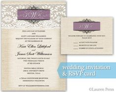 Real mn wedding jamie brittany invitation design wedding vintage barn wedding invitation design burlap and lace purple monogram stopboris