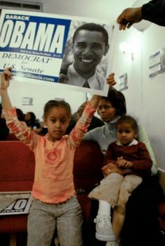 Michelle Obama with Malia & Sasha ~ Running for the Senate
