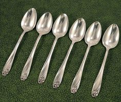 6 Teaspoons Daffodil 1950 Silver Plate Silverplate Flatware Silverware Spoon Good Used 1847 Rogers Bros