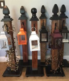 Custom porch post with metal hanger for latern. Make a great accents piece for any