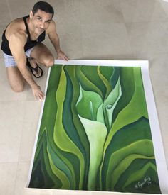 Wall Art, Original Oil Painting on Canvas,Still Life Home Decor Green and white Painting Calla Lillies, Art Mural, Home Decor Wall Art, Oil Painting On Canvas, Floral Flowers, Decoration, Still Life, Contemporary Artists, Original Artwork