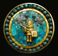 Peru: Moche Gold and Turquoise Inlay Ear Ornament, ca. A.D. 200-500, Sotheby's