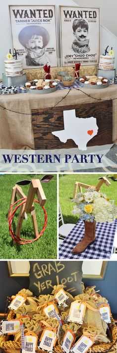 Rodeo Theme Birthday Party Ideas, Western Theme Birthday Party Ideas, Houston Birthday Party Ideas, Texas Theme Birthday Party Ideas, Western Theme Birthday Party Decor, Grab Yer Loot Ideas, Party Favor Ideas, Western Party Favor Ideas