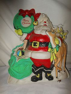 "Vintage Christmas Glolite ~ Santa w/ Reindeer and ""Merry Christmas"" Wreath"