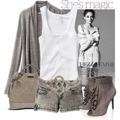 white and grey outfit. set by yoasienka.