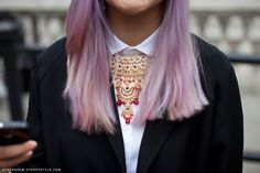 dye hair color blingbling necklace