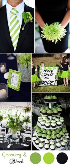 green and black modern wedding inspiration