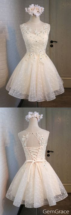 Lace and tulle short homecoming party dress, custom by GemGrace