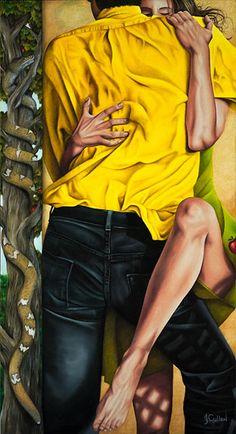 """Johanne Cullen ~ Adam et Eve, oil on canvas, 78x30"""""""