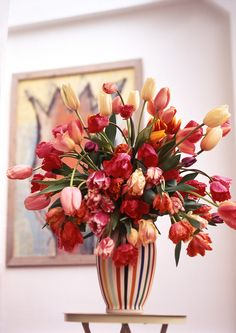 Lekker groot boeket met tulpen.