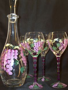 Vintage Wine Decanter and Wine Glass Set Hand Painted Grape Design by GarageSaleGlass, $50.00