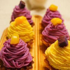 紫芋と、黄色は栗きんとんの余りを使って2色おいもモンブランお芋の甘味を活かして砂糖少なめです 裏ごしが予想以上に大変で...年初の学校も遅刻笑 - 143件のもぐもぐ - さつまいもモンブラン by hoppewapinker
