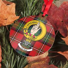 Aluminium ornament with printed clan crest and tartan - several shapes available
