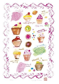 Cupcakes illustration wall art - Lucile Prache