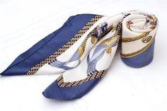 Hermes 'Harnais Francais' Cream Blue Gold