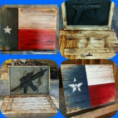 Rustic Texas Flag Wall Art with concealed gun compartment.
