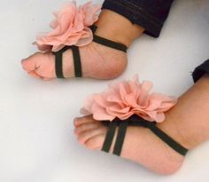 Vintage pink baby barefoot sandals baby sandals by KELLSEYS, $15.95