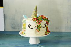 Unicorn Cake | This colorful unicorn-inspired layer cake is the pinnacle of cuteness—perfect for a birthday party or for anyone who's just super into the current unicorn craze. While this cake is fantastically wow-worthy, and does take some time and loving dedication to construct, you don't need to be a pastry chef to pull it off. In fact, creating this mythical masterpiece really is totally achievable for a home baker—just follow the instructions and don't be afraid to have a little fun…