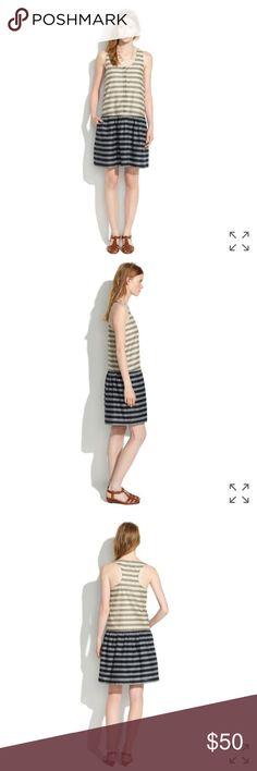 3b306855b64 Madewell Drop-waist Dress in Trellis Stripe -Small Madewell Drop-waist Dress  in