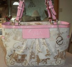 RARE Coach Khaki/Pink Pleated Gallery Tote Preloved. Starting at $15 on Tophatter.com!