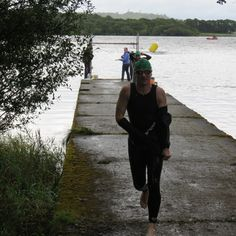 Exiting the 1500m swim from a freezing cold Kilarney Lake in Western Ireland August 2012