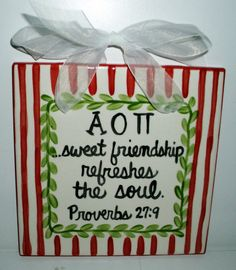 Alpha Omicron Pi Friendship Tile by CarolineCo on Etsy I would love to have this! Alpha love!!!!!