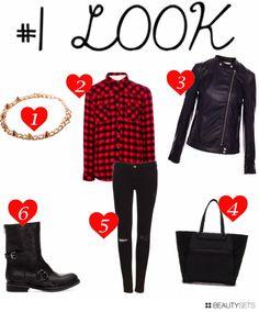 http://www.myvintagememoirs.com/2013/11/how-to-wear-it-biker-jacket.html  #fashion #outfits #pullandbear #ideas #zara #bikerjacket #red #black #partyoutfit #rock #rockstyle #plaidshirt #plaid #tartan