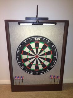 LED LIGHTED Sandstone/Brown Dartboard Backing Cabinet AND DMI Bristle Dart Board