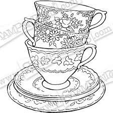 Image result for teacups stacked black and white