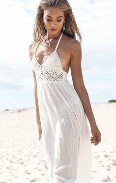 eb74c6ae0a 2016 New Fashion White Sling V-Neck Backless Sexy Chiffon Dress Sleeveless  Hollow Out Summer Women Beach Dress - grand canyon discount store