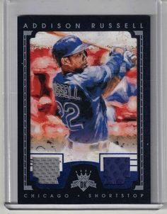 2016 Diamond Kings Baseball Addison Russell Dual Glove Jersey Relic Card #18/25 #2016DiamondKingsBaseball #NLChicagoCubs