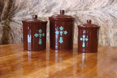 Chocolate and Turquoise Cross Canister Set