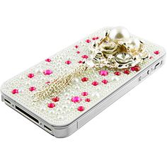 Rhinestones Pearl Back Cover for iPhone 4 & 4S, Princess Bouquet