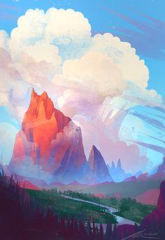 The Art Of Animation, Alexandra kern -. Fantasy Landscape, Landscape Art, Fantasy Art, Bg Design, Environment Concept Art, Scenery Wallpaper, Environmental Art, Art Background, Digital Illustration