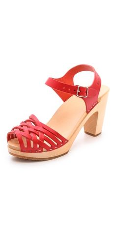 Swedish Hasbeens Braided Sky High Sandals ~ black or red ~ get it at http://www.muchosbesitos.com/shoes/SWEDISH-HASBEENS.shtml