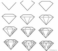 How to draw a simple diamond Tattoo ideas in 2019 Diamond diamond drawing - Drawing Tips Drawing Lessons, Drawing Techniques, Drawing Ideas, Drawing Pictures, Drawing Guide, Sketch Ideas, Drawing Tutorials For Beginners, Art Tutorials, Pencil Drawings