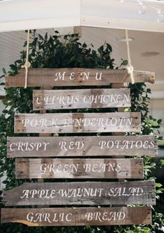 I like this idea for posting a menu too..itd be easy to do out of an old pallet