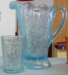 *NORTHWOOD GLASS ~ Carnival, Raspberry, Pitcher & Tumbler (1), Ice Blue. C. 1908 -1925