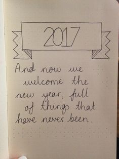 2017 Bullet Journal title page with quote about the new year