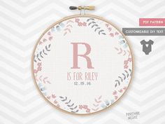 PRETTY PEACHY BIRTH announcement counted cross stitch pattern new baby girl sampler easy modern shower gift xstitch embroidery record pdf by PineconeMcGee