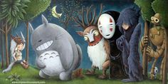 Princess Mononoke, My Neighbor Totoro, Spirited Away, Howl's Moving Castle, Castle in the Sky.