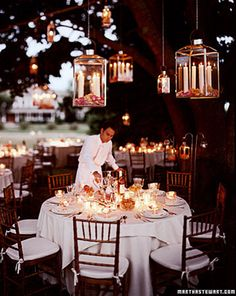 Beautiful Hanging Candle Displays for Outdoor Wedding Reception