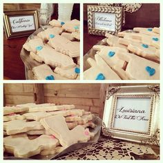"""Cookies aren't just late night snacks-they are great for wedding treats! Our couple's personal touch was turning their special states into these amazing cookies for their dessert table. """"California-our meeting spot"""" """"Oklahoma-connects our dots"""" """"Louisiana-we tied the knot"""" #tyingtheknotweddings #destrahanplantation #southernweddings #nolaweddings"""