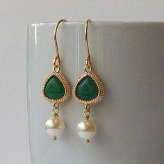 Hello, Gorgeous.   Hunter Green Crystal Pearl Earrings, Hunter Green Fashion Jewelry  via Etsy