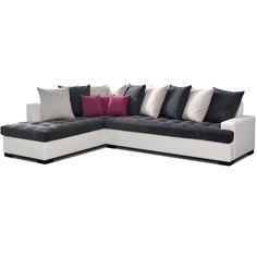Canapé d'angle gris et blanc en tissu BALI