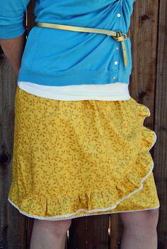 ruffled A-line skirt tutorial